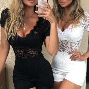 Sexy V-neck Short Sleeve High Waist Hollow Out Lace Thin Romper