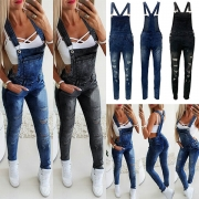 Fashion High Waist Slim Fit Ripped Denim Overalls