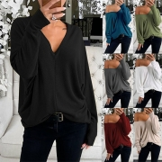Fashion Solid color Long Sleeve V-neck Loose T-shirt