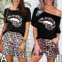 Sexy Oblique Shoulder Short Sleeve Leopard Printed T-shirt + Shorts Two-piece Set