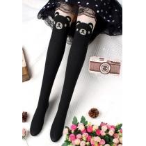 Cute Lovely Cartoon Bear Silk Spliced Warm Tights Stockings