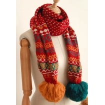 Sweet Retro Pompom Geometric Figure Snowflakes Knitted Scarf