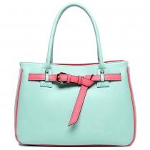 Cute Contrast Candy Color Buckles Purse Tote Handbag Bag