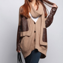 Punk Stylish Chic Cool Patch Knit Cardigan With scarf