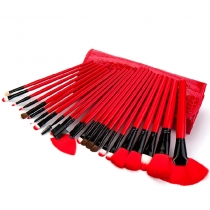Professional Cosmetic 24 pcs Makeup Cosmetic Brushes Set with Black Red Case Bag