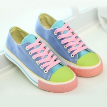 Cute Candy Contrast Color Casual Shoes Canvas Sneaker Flats