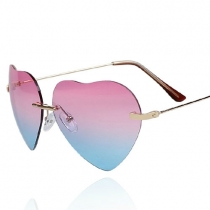 Coo. Gradient Color Mirror Lens Love Heart Frame Sunglasses Shades