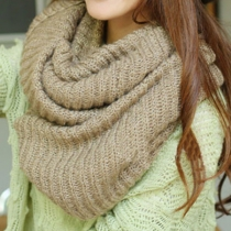 Latest Women's Warm Leisure Simple Pure Color Knit Infinity Scarf