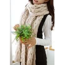 Warm Women's Simple Leisure Pure Color Open Knit Long Scarf