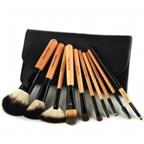 10 PCS Makeup Cosmetic Brush Tool Set with Black Pouch