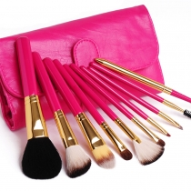 10 PCS Make Up Cosmetic Brush Set with Rose Red Bag
