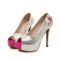 Fashion Sweet Slip-on Peep Toe Platform Stiletto Shoes