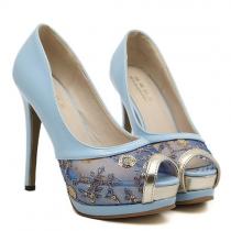 Fashion Lace Spliced Peep Toe Stiletto Shoes