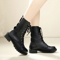Round Toe Lace Up Knee-high Flats Martin Boots