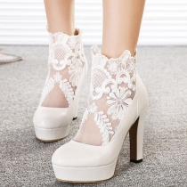Fashion Lace Gauze Spliced Round Toe Thick High-heeled Shoes