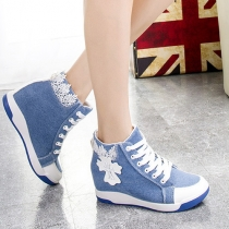 Fashion Contrast Color Lace Up Inner-increased High-top Canvas Shoes