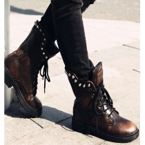 British Style Rivets Thick Heel Lace Up Ankle Booties