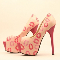 Sexy Super High-heeled Lips Pattern Peep Toe Stiletto Pumps