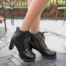 Fashion Round Toe Lace Up Thick High-heeled Ankle Booties