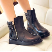 Punk Style Rivets Round Toe Flat Heel Martin Booties