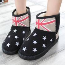 Fashion Stars Print Round Toe Flat Heel Warm Snow Boots