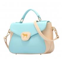 Fashion Pony Embroidery Contrast Color Handbag Cross Body Bag