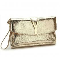 Fashion Fire Cracks Y Button Clutch Shoulder Bag