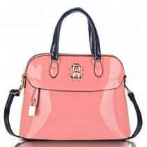 Fashion Patent Leather Lock Pendant Macaron Handbag Shoulder Bag