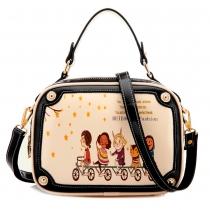 Fresh Style Contrast Color Cartoon Graffiti Handbag Cross Body Bag