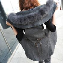 Fashion Faux Fur Collar Solid Color Woolen Vest