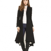 Fashion Solid Color Long Sleeve Dovetail Hem Trench Coat