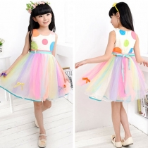Fresh Style Sleeveless Girls Summer Princress Rainbow Dress with Belt