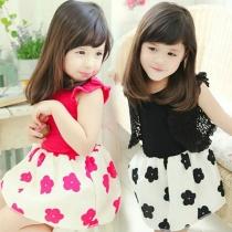 Girls Summer Short sleeve Bowknot Flower Dress Bud Tutu Dress