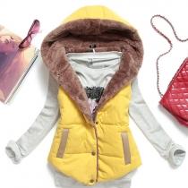 Fashion Hooded All-match Vest Coat