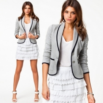 Fashion Contrast Color Turn-down Collar Long Sleeve Blazer