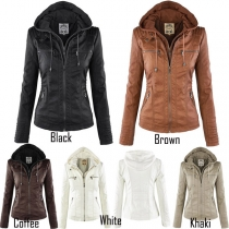 Fashion Solid Color Long Sleeve Hooded PU Leather Jacket
