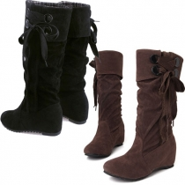 Sweet Cute Elegant Pure Color Lace-up Fringe Tall Boots