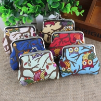 Multi-color Owl Pattern Canvas Coin Purse