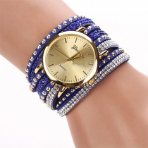 Punk Style Multi-layer Rivets Rhinestone Watch Band Bracelet Watches
