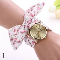 Fashion Cloth Watch Band Round Dial Quartz Watches