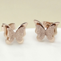 Fashion Rose Gold Plating Butterfly Shaped Stud Earrings
