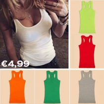 Fashion Candy Color Round Neck Tank Tops