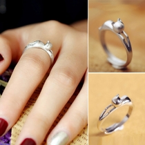 Fashion Silver-tone Cat-shaped Ring