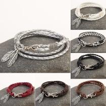 Fashion Leaf Pendant Multi-layer Woven Key Ring Bracelet