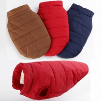Fashion Warm Solid Color Single-breasted Waistcoat For Dogs