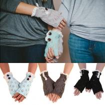 Fashion Leaf Lace Pattern Knit Fingerless Gloves