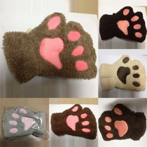 Fashion Lovely Embroidery Cartoon Claw Shaped Half Finger Gloves