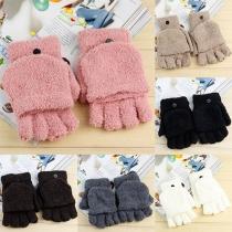 Fashion Lovely Solid Color Multifunctional Plush Half Finger Gloves