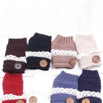 Fashion Lace Spliced Button Knit Half Finger Gloves