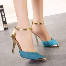 Fashion Pointed Toe Belt Buckle Stiletto Shoes